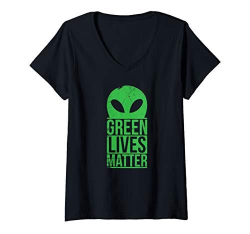 - Womens Green Alien Lives Matter Funny Aliens UFO  V-Neck T-Shirt