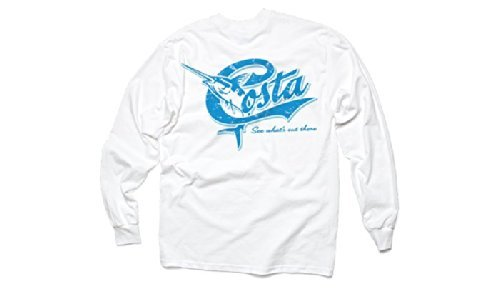 Free Costa Del Mar Retro Long Sleeve T-Shirt, White, XX-Large