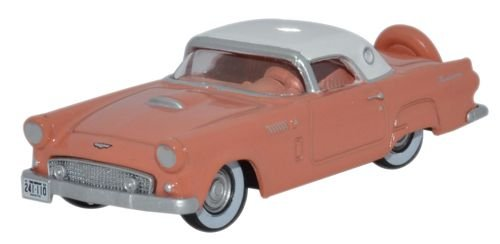 Oxford Diecast 87TH56001 HO Gauge 1:87 Scale Ford Thunderbird 1956 in Sunset coral/Colonial white