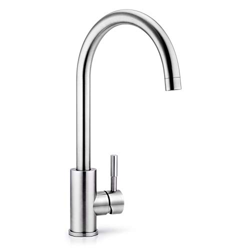 (Techo Single Handle Kitchen Faucet, High Arc Brushed Nickel Kitchen Faucet, Lead-free Brass and Drip-free Ceramic Valve Faucet with 360 Degree Swivel Spout)