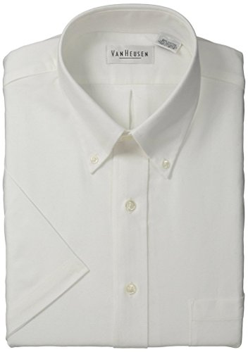 Van+Heusen+Men%27s+Short-Sleeve+Oxford+Dress+Shirt+-White+-+17