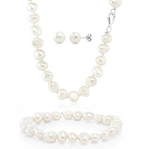 Cultured Freshwater White Pearl Sterling Silver Necklace Earrings Bracelet Set