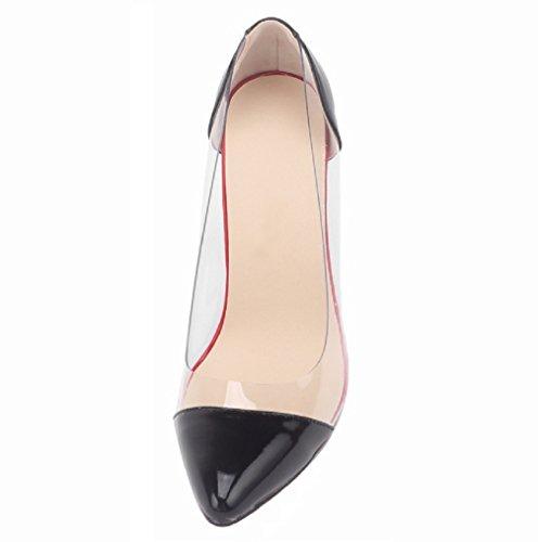 Transparent Pumps Toe Semelle Rouge HooH Noir Escarpins Femmes Pointed PSq47nw5x