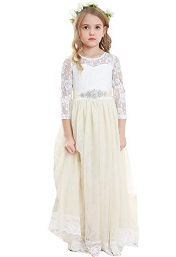 Bow Dream Lace Vintage Flower Girl's Dress Long Sleeve Ivory 12