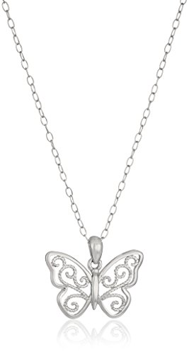 - Sterling Silver Filigree Butterfly Pendant Necklace, 18