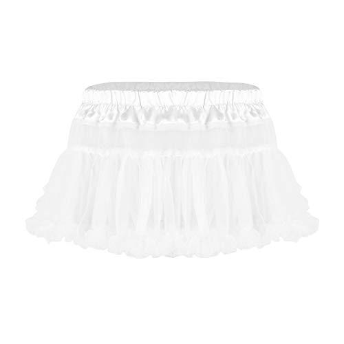 iEFiEL Mens Sissy Satin Elastic Waistband Frilly Ruffled Soft Tulle Layered Mini Petticoat Skirt White OneSize