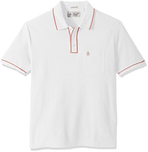 Original Penguin Men's Earl Pique Polo Shirt, Bright White, Medium (Collar Mens Shirt Sticks)