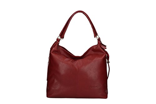 ITALY shopper IN pelle spalla Borsa a CARDIN PIERRE in donna MADE VN213 rossa awXHFP