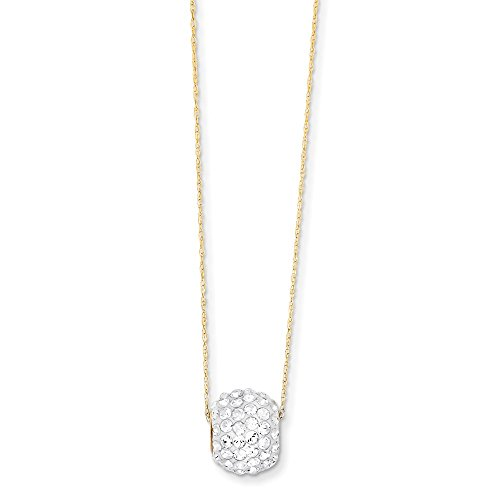 Solid 14k Yellow Gold Crystal Slide Pendant Pendant Necklace Chain 18