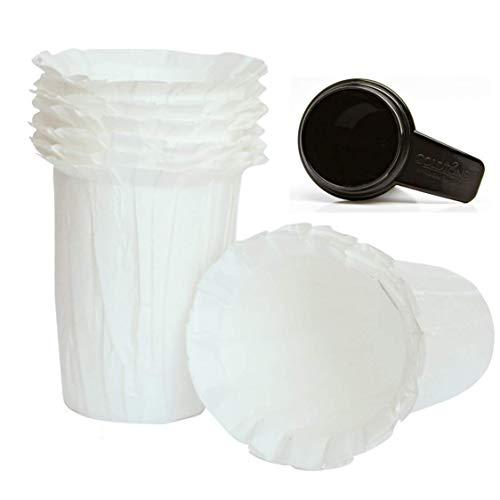 (100 Pack) GoldTone Brand Carafe Paper Coffee Filter Compatible with Keurig K Carafe Reusable Filter + Free 1 OZ Coffee Scoop/Tamper (100 Pack) by GoldTone