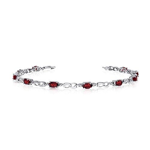 10K White Gold Oval Garnet and Diamond Link Bracelet (7 Inch Length)