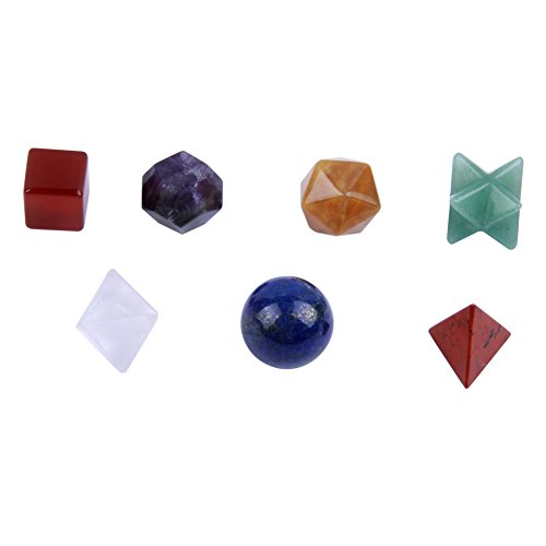 Banshren 7 Chakra Healing Crystal Platonic Solids Sacred Geometry Set with Merkaba Star Carved Chakra Stone Set