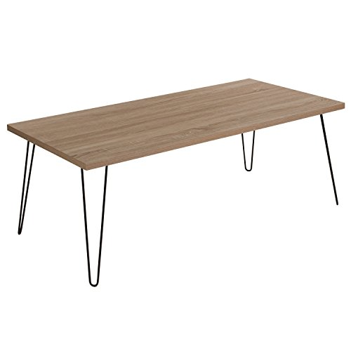 Flash Furniture Union Square Collection Sonoma Oak Wood Grain Finish Coffee Table with Black Metal (Leg Square Oak Cocktail Table)