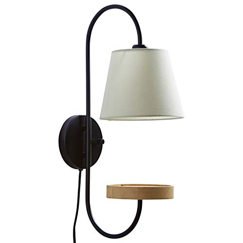 Rivet Modern Light Wood Platform Wall Sconce with USB Port - 12.5 x 9 x 25 Inches, Matte Black