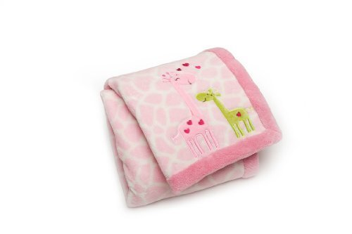 Carter's Easy Printed Embroidered Boa Blanket, Pink Giraffes (Discontinued by Manufacturer) by Kids Line