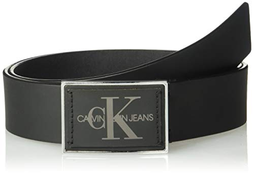 (Calvin Klein Men's 38mm Plaque Logo Belt, Black, 40)