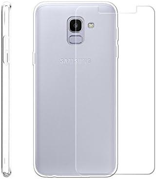 LJSM Samsung Galaxy J6 2018 Funda Transparente + Protector de Pantalla Cristal Templado Film Película Protectora - Carcasa Silicona TPU Suave Caso ...