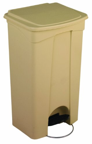 Continental 23BE, 23-Gallon Step-On Polypropylene Waste Receptacle, Rectangular, Beige (Case of 1)