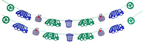 (Garbage Truck Party Supplies, Garbage Trash Trucks Birthday Felt Garland Banner recycling Decorations Party Photo Prop for Kids)