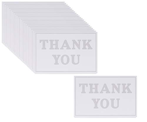 Thank You Cards - 100-Pack Embossed Thank You Greeting Card and Envelopes Stationery Set for Wedding, Birthday, Business, Baby Shower, Gray Print, 4 x 6 - Note Cards Embossed Stationery