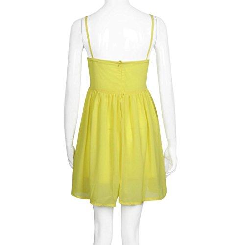 Clode® Abito in Chiffon Donne Sexy Paillettes Abito da Spiaggia Moda Canotta Dress Slim (Dimensioni: L, Giallo)