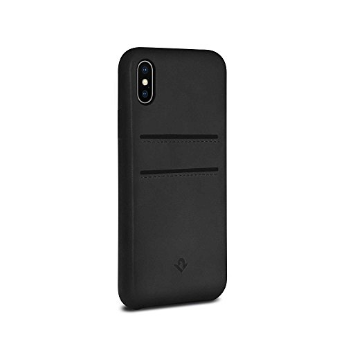 (Twelve South Relaxed Leather Case for iPhone XS / iPhone X | Hand Burnished Leather Wallet Shell (Black))