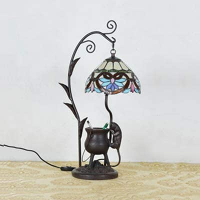 LITFAD Victorian Ancient Tripod Mouse Table Light Stained Glass 1 Light Night Light Tiffany Bedside Lamp LED Desk Lamp