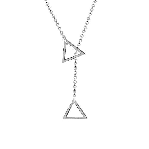 Geometric Inverted Triangle Pendant Necklace - Minimalism Hollowed-Out Inverted Triangle Pendant Jewelry for Women (Silver)
