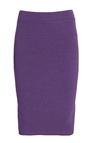 Esteez Girls Modest Lightweight Cotton Lycra Knee Pencil Skirt Plum (Lightweight Spandex Skirt)