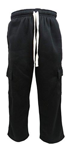 Henry & William Men's Heavyweight Basic Casual Fleece Cargo Pants S-6XL (2X Black) 2x Large Polyester Fleece