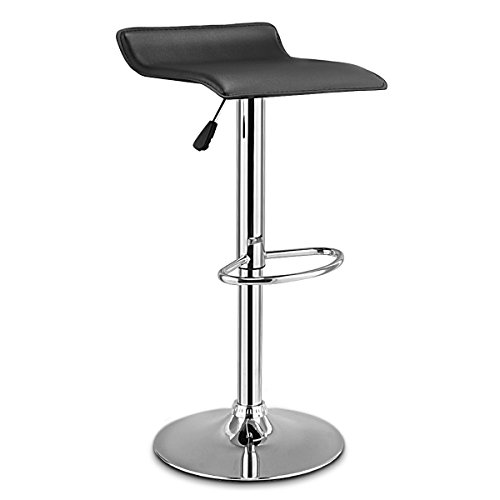 COSTWAY Swivel Bar Stools Adjustable PU Leather Backless Dining Counter Chair (Black)