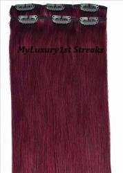 My Scene 6 Piece Clip in Hair Extensions Red Wine Deep Purple Clip-on Hairstyle Streaks