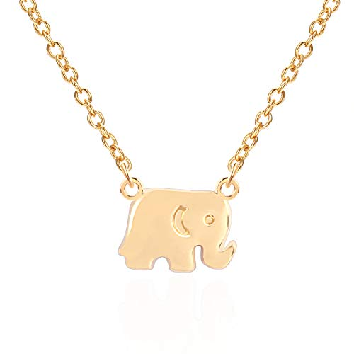 - USA Annabel Lucky Elephant Pendant Choker Necklacce 14K Genuine Gold Plated Necklace for Women-2PCS Necklace and Bracelet