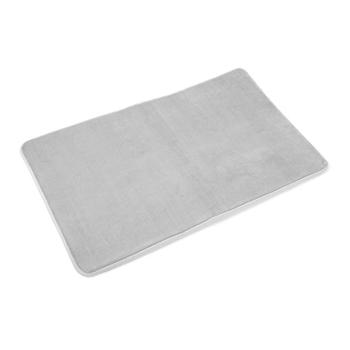 Gray Terry Cloth Covers (Memory Foam Bathrug - Light Gray, Bath Mat and Shower Rug Large 20 x 32 Inches, Non Slip Latex Free Plush Microfiber. Comfortable, Beautiful and Maximum Absorbency.)