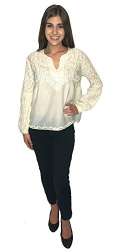 S&B Embroidered Womens Blouse Off White Cotton