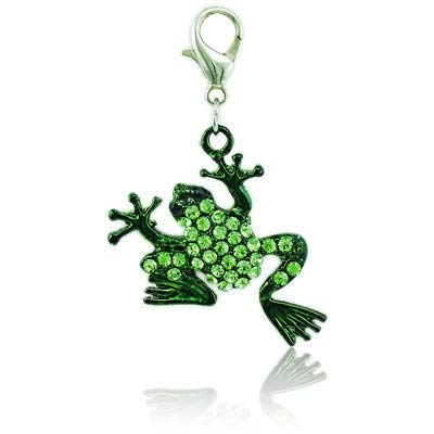 ster Clasp Charms Dangle Two Color Rhinestone Frog Charms Animal DIY Pendants Making Jewelry Accessories - by Mct12-1 PCs ()