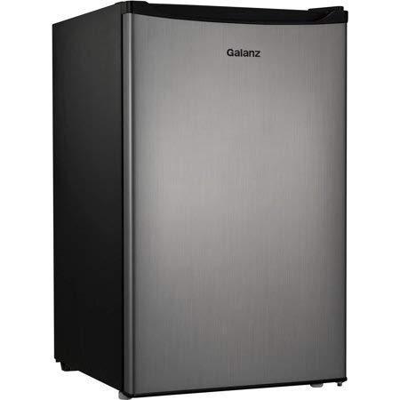 - Galanz - 4.3 Cubic Foot Compact Single-Door Dorm Refrigerator, Stainless Steel - iiIii