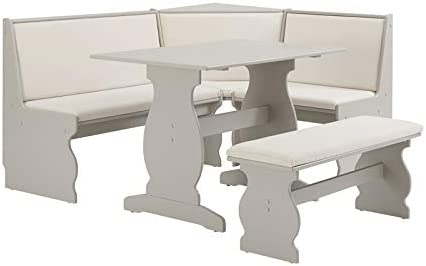 Riverbay Patio Conversation Kitchen Breakfast Corner Nook Table Booth Bench Dining Set in Soft Gray