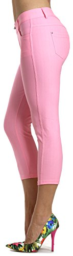 Prolific Health Women's Jean Look Jeggings Tights Slimming Many Colors Spandex Leggings Pants S-XXXL (Large, Light Pink Capri)