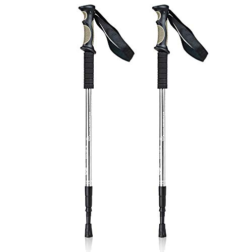 BAFX Products 1 Pair (2 Poles) Adjustable Anti Shock Strong & Lightweight Aluminum Hiking Poles for Walking or Trekking (Silver) (Best Hiking Gear For Beginners)