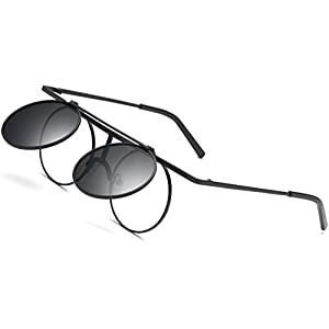 Joopin-Round Retro Polaroid Sunglasses Driving Polarized Glasses Men Steampunk (Black Flip-up, as the pictures)