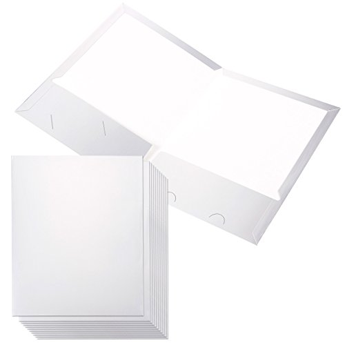 12 Pack Silver Pocket Folders - Paper Folders Presentation Folders - Twin Pocket Folders with 2 Business Card Slots, 2.5 x 9.5 Inches (Stock Twin Pocket Portfolios)