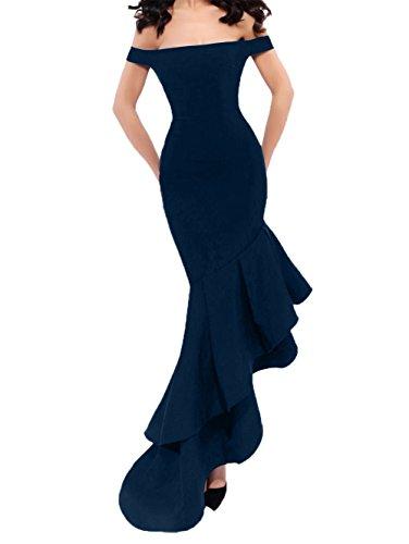Damen Promkleider Blau Navy Charmant Asymettrisch Lang Partykleider Abendkleider Meerjungfrau Abschlussballkleider Figurbetont fIBdxBawq