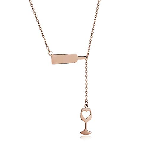 Womens Ladies Stainless Steel Wine Love Heart Cheers Red Enamel Rose Gold Pendant Necklace Chain 18'' Jewelry