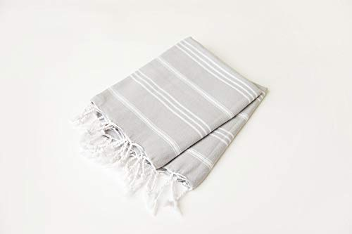 (Set of 2) Palace Hand Towel 100% Turkish Cotton Hand-loomed Bath Beach Towel Peshtemal Scarf (26.5 x 35.5 inches) (60 x 90 cm) (Light Grey) ()