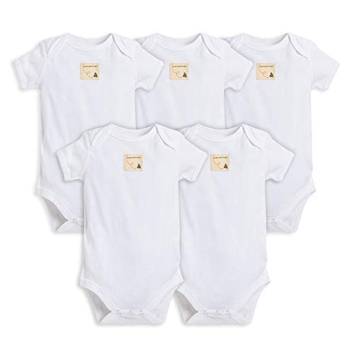 Burt's Bees Baby - Set of 5 Bee Essentials Solid Short Sleeve Bodysuits, 100% Organic Cotton, Cloud (0-3 Months)