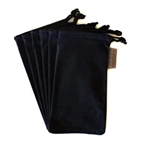6 PC Sunglass Eyeglass Microfiber Soft Lens Cloth Carry Bag Pouch Case (BLACK)