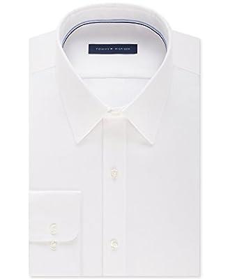 Tommy Hilfiger Men's Regular Fit Spread Collar Long Sleeve Dress Shirt