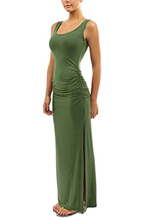 WIWIQS Women's Ruched Sleeveless Side Split Party Long Dress Small Army Green