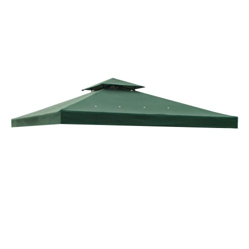 Heavy Duty All Weather 2 Tier Backyard Patio Sun Shade 10x10 Ft Garden Canopy Gazebo Replacement Polyester Top UV Protection Water Resistant - Green Color by Generic